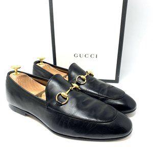 GUCCI Jordaan Black Leather Gold Bit Dress Loafer